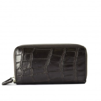 Croc Zip Wallet Brown