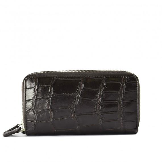 Croc Zip Wallet Brown
