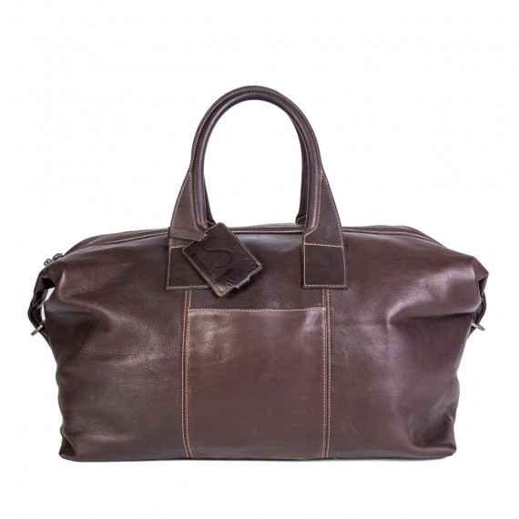 Smooth Leather Duffel Brown
